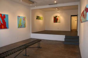 """Installation photo from the """"Chromatism"""" solo exhibition from Lisa Marie Sipe at Eye Lounge, Phoenix, Arizona."""