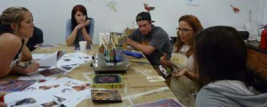 Lisa Marie Sipe teaching an encaustic workshop at Sober College in Woodland Hills, California.