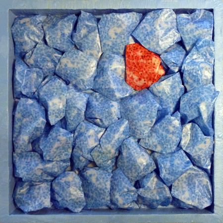 """Lisa Marie Sipe, """"It Started with a Backache,"""" encaustic and mixed media on wood"""