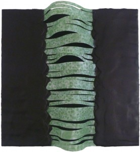 """Lisa Marie Sipe, """"Gamma ray-sounds like something out of sci-fi,"""" encaustic and mixed media on wood, 12 x 12 inches"""
