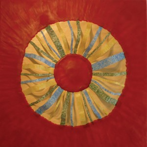 """Lisa Marie Sipe, """"The halo that I wear,"""" encaustic and mixed media on wood, 24 x 24 inches"""