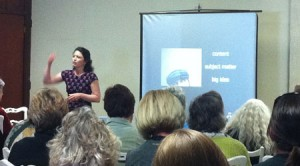 """Kim Bernard teaching """"What's Your Work About"""" at the 5th International Encaustic Conference"""