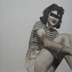 "Jhina Alvarado, ""Sitting in the Shadows"" 24"" x 24"", 2011, encaustic and oil on panel"