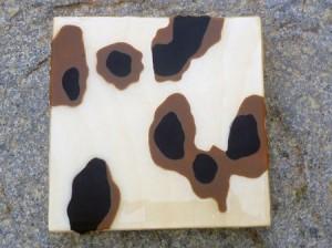 """Lisa Marie Sipe, """"Target Practice IV,"""" encaustic and resin on wood, 6 x 6 in."""