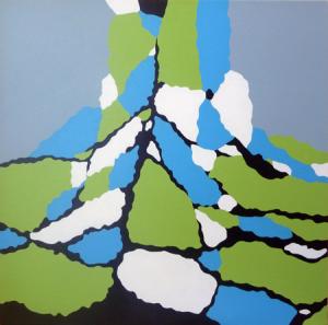 Lisa Marie Sipe, acrylic straight edge painting Cracked Skyline I