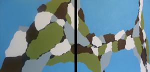 Lisa Marie Sipe, cracked skyline II, acrylic straight edge painting