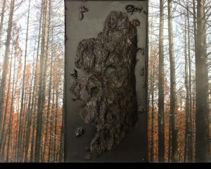 Sisters, Oregon Pole Creek Fire mixed media encaustic sculpture