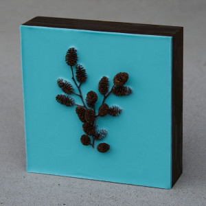 """30 Paintings Day 4, Lisa Marie Sipe, """"In the Forest I"""" encaustic and mini pine cones on wood panel"""