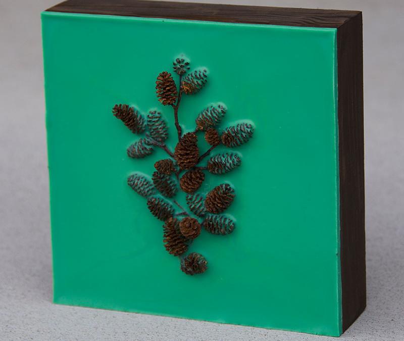 Lisa Marie Sipe encaustic and pine cone encaustic painting