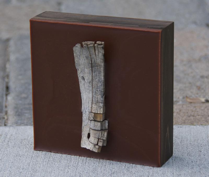 Lisa Marie Sipe, brown encaustic tree branch painting on wood panel
