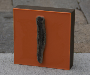 Lisa Marie Sipe orange wax and driftwood painting