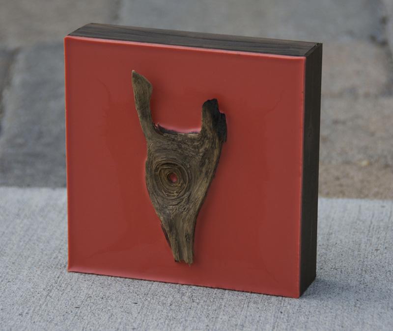 Lisa Marie Sipe burned tree branch red coral encaustic painting