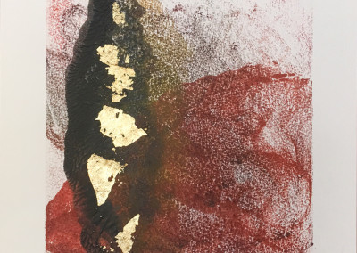 Residue, encaustic & gold leaf monoprint, Lisa Marie Sipe