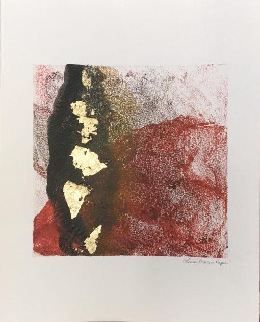 Residue, encaustic & gold leaf monoprint, Lisa Marie Sipe