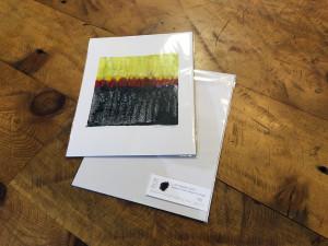 """Red Patch"" encaustic monoprint by Lisa Marie Sipe"