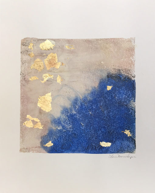 Ala, encaustic & gold leaf monoprint, Lisa Marie Sipe