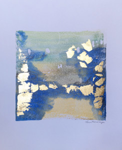 The Creation of Gold, encaustic & gold leaf monoprint, Lisa Marie Sipe