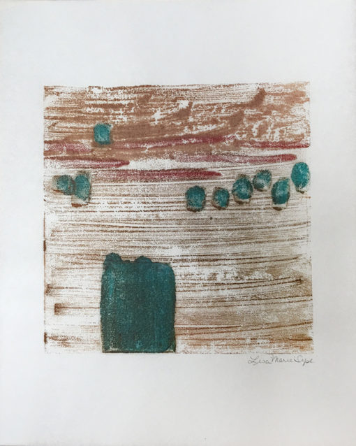 """""""Ducking"""" encaustic monoprint by Lisa Marie Sipe"""