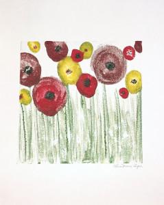 """""""Floral Field"""" encaustic monoprint by Lisa Marie Sipe"""