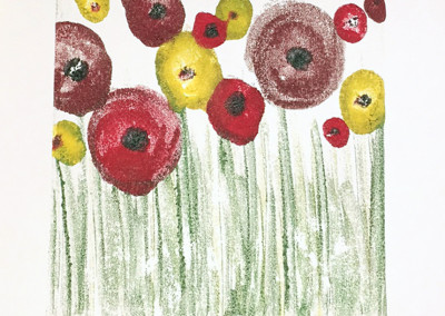 """Floral Field"" encaustic monoprint by Lisa Marie Sipe"