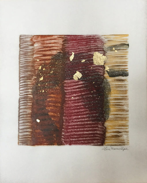 """""""Golden"""" encaustic monoprint with gold leaf by Lisa Marie Sipe"""
