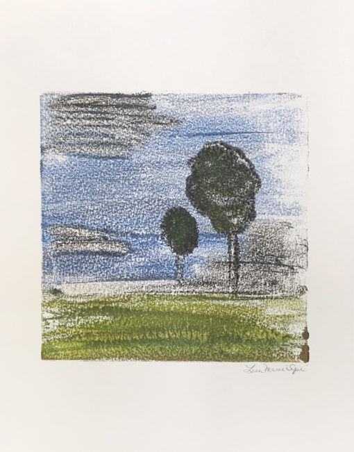 Howls, encaustic monoprint of trees in the forest, Lisa Marie Sipe