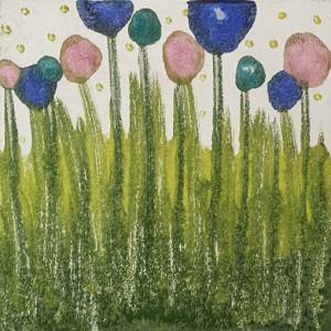 """""""Spring"""" encaustic monoprint from Lisa Marie Sipe"""