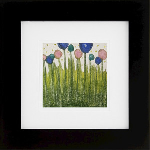 Spring, encaustic monoprint framed