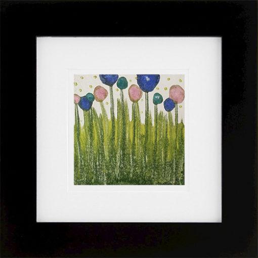 Spring, encaustic monoprint framed