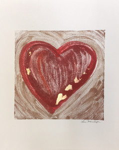 Obviously Love, encaustic & gold leaf monoprint, Lisa Marie Sipe