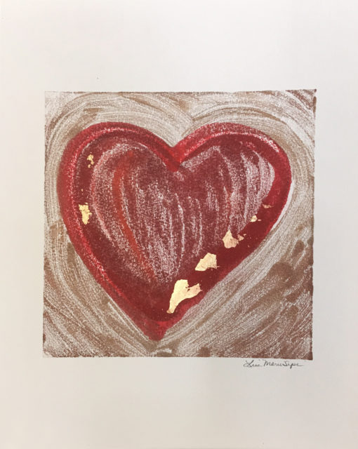 Obviously Love, encaustic & gold leaf monoprint, Lisa Marie Sipe