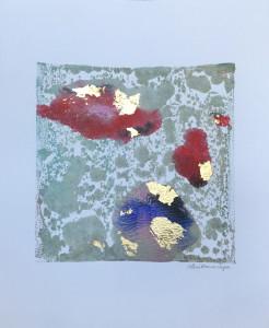 Passage, encaustic & gold leaf monoprint, Lisa Marie Sipe