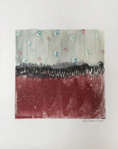 Red Range, encaustic monoprint, Lisa Marie Sipe