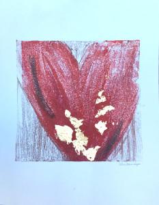 Passion, encaustic & gold leaf monoprint, Lisa Marie Sipe
