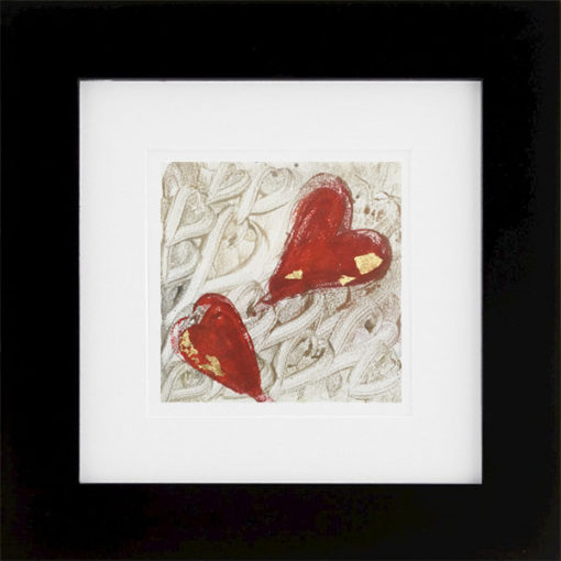 Two Hearts, encaustic & gold leaf monoprint, Lisa Marie Sipe