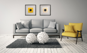 Modern family room with contemporary artwork by Lisa Marie Sipe